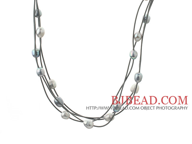 Three Strands 11-12mm Gray and Black Freshwater Pearl and Gray Leather Necklace