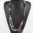 fashion purple agate and crystal necklace