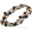 multi strand crystal sea shell beads tiger eye and fire mountain rock necklace
