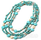 pearl and turquoise multi strand necklace