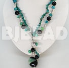 double strand black agate and phoenix stone necklace