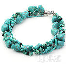 multi strand black crystal and turquoise necklace under $30