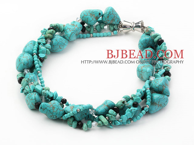 multi strand black crystal and turquoise necklace