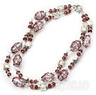 double strand crystal and colored glaze necklace
