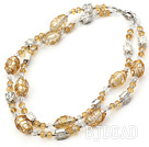 double strand crystal and colored glaze necklace under $ 40