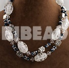 double strand black crystal and white colored glaze necklace