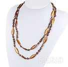 47.2 inches brown pearl crystal and shell necklace