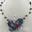 17.7 inches black crystal and butterfly shape shell necklace