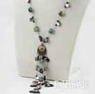 19.7 inches garnet black shell and indian agate necklace