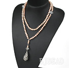 35.4 inches natural pink pearl necklace with pendant
