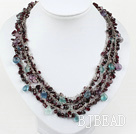 beautiful three strand rainbow flourite and garnet necklace
