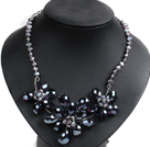 Gorgeous Party Style Natural Gray Freshwater Pearl Crystal Flower Bib Necklace