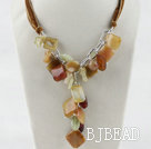 21.7 inches chunky style three color jade necklace with ribbon under $14