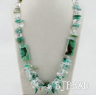 23.6 inches green agate crystal necklace