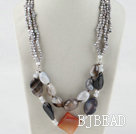 19.7 inches chunky style gray pearl and agate necklace