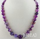 Single Strand Faceted Round Purple Agate Graduated Beaded Necklace