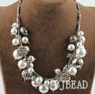 white sea shell beads necklace with charms