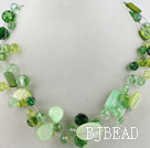 multi strand green crystal and shell necklace