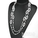 long style 51.2 inches white pearl crystal and shell necklace under $ 40