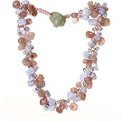 2014 Summer Lovely Design Strawberry Crystal Purple Jade and Agate Twisted Necklace