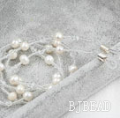 White Freshwater Pearl and White Crystal Long Necklace