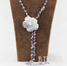 23.6 inches rainblow flourite necklace with black shell flower