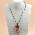 Simple Retro Style Chandelier Shape Watermelon Crystal Tassel Pendant Necklace With Black Leather