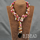 Pink Series pearl shell and agate Y shaped necklace with moonlight clasp
