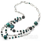 hot style black agate and phoenix stone necklace