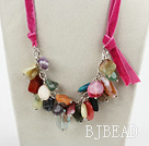 23.6 inches multi color gemstone necklace with ribbon