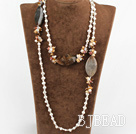 47.2 inches long style white pearl and crystal necklace