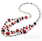 fashion bloodstone coral and black agate necklace