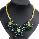 Gorgeous Party Style Natural Yellow Freshwater Pearl Green Crystal Flower Bib Necklace