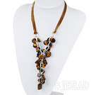 19.7 inches Y shape tiger eye necklace with ribbon