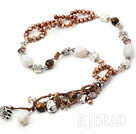 Y shape brown pearl agate and riger eye necklace
