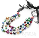 3 strand multi color shell beaded neckalce with black ribbon