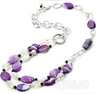 fashion style pearl and natural amethyst necklace