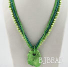 fashion three strand green pearl crystal and turquoise necklace under $ 40