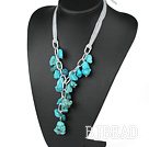 chunky style 23.6 inches Y shape turquoise necklace with ribbon under $ 40