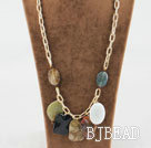 23.6 inches chunky style multi color gemstone necklace on bold chain