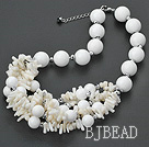 white coral and giant clam necklace with lobster clasp