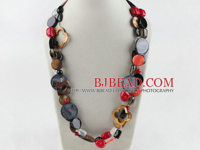 long style 51.2 inches coral black agate and shell necklace