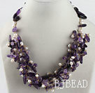 hot white rice pearl and amethyst necklace
