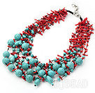 fabulous multistrand coral and turquoise neckalce under $ 40