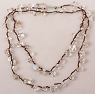 Long Style Clear Crystal and Opal Hand Knotted Necklace