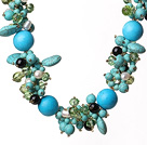 Beautiful Blue Turquoise and Crystal and Pearl Necklace under $100