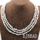 Tre Strands White Pearl Necklace acqua dolce nuziale