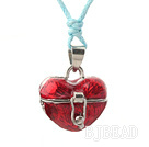 heart shape make a wish box necklace with lobster clasp