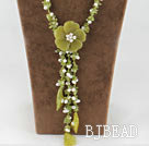 Y shape white pearl olive jade flower necklace under $30