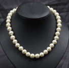 12mm Ivory Color Round Glass Pearl Beads Choker Necklace Jewelry
